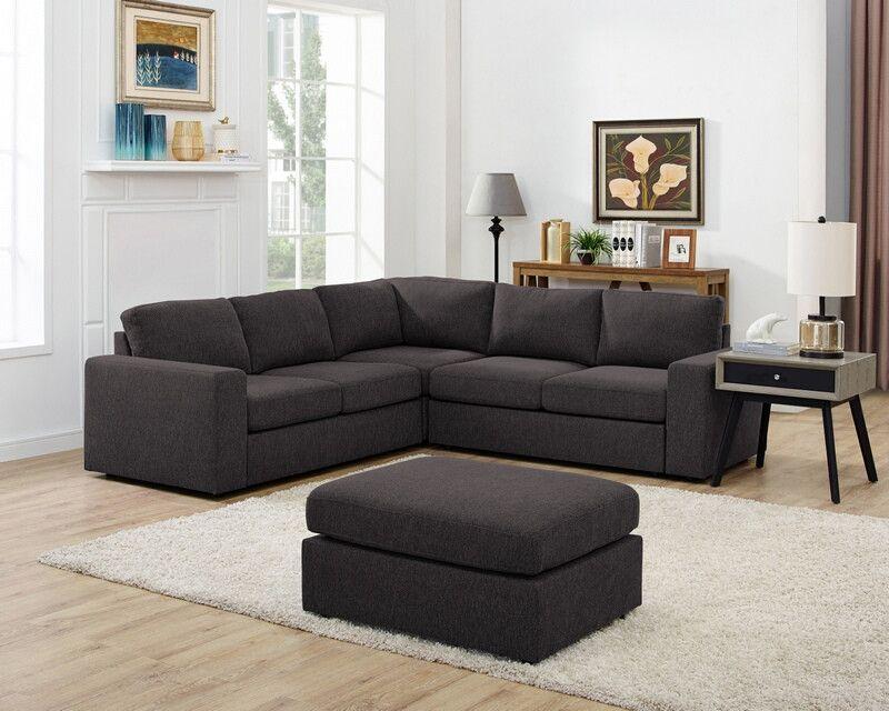 Oah D6201 6 4 Pc Ivy Bronx Nalani Dark Gray Linen Like Fabric Modular Sectional Sofa Set Modular Sectional Sofa Sectional Sofa Furniture