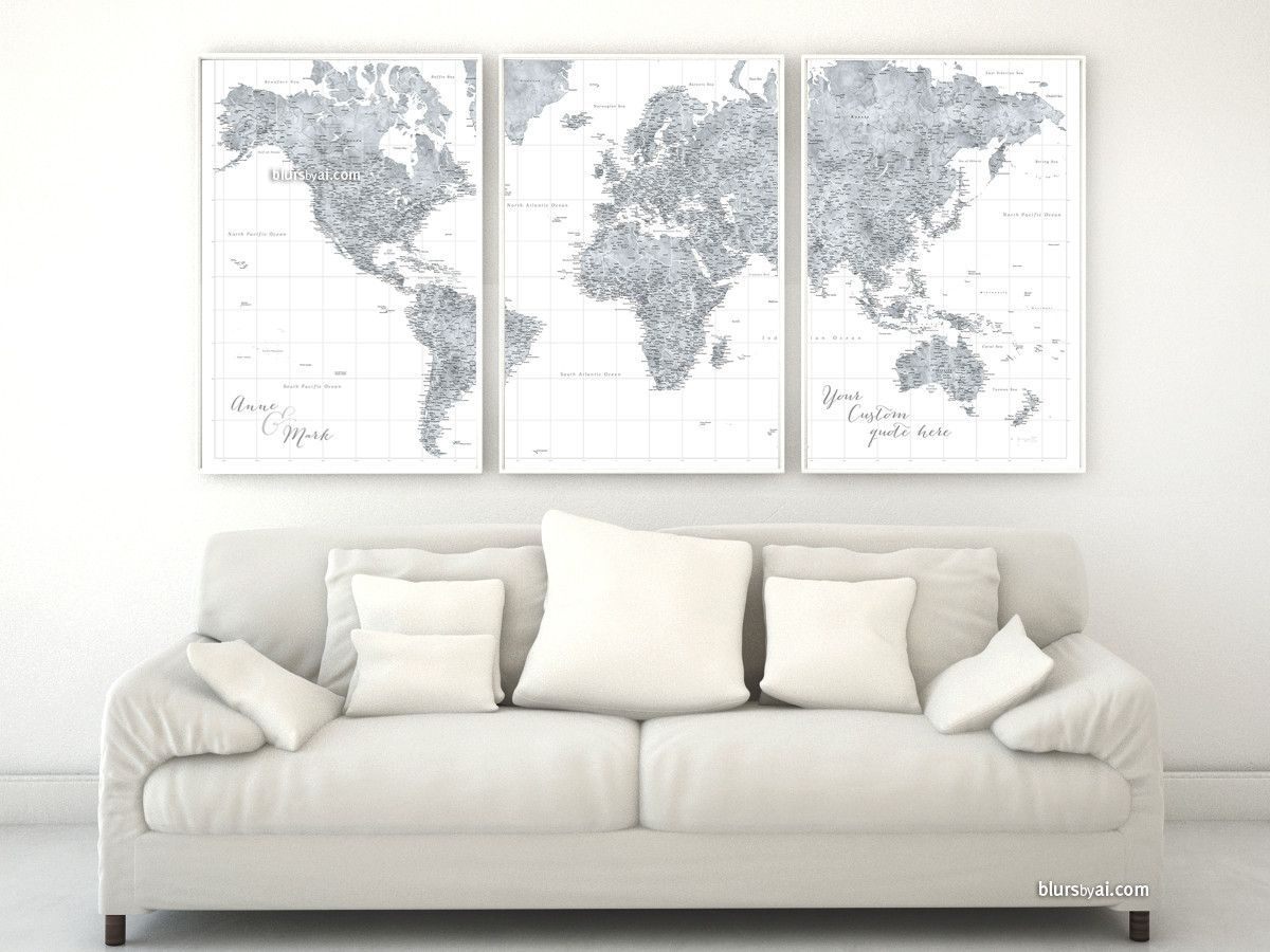 Custom quote highly detailed world map poster grayscale custom quote highly detailed world map poster split in 3 panels grayscale watercolor map gumiabroncs Gallery