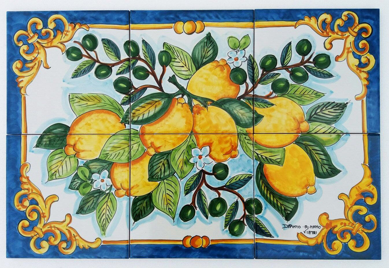 Hand Painted Tile Mural Lemon Branch Olive Branch Table