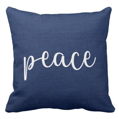 Blue Burlap Country Rustic Christmas Peace Throw Pillow