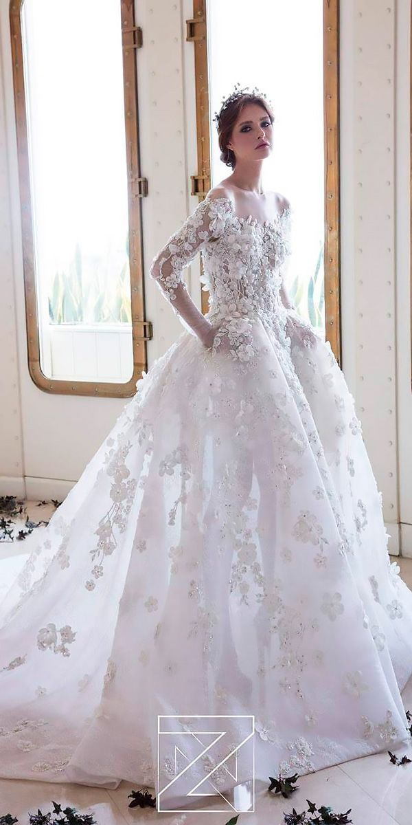 bdff8bfeddb 18 Princess Wedding Dresses For Fairy Tale Celebration ❤ lace ball gown  floral high neck