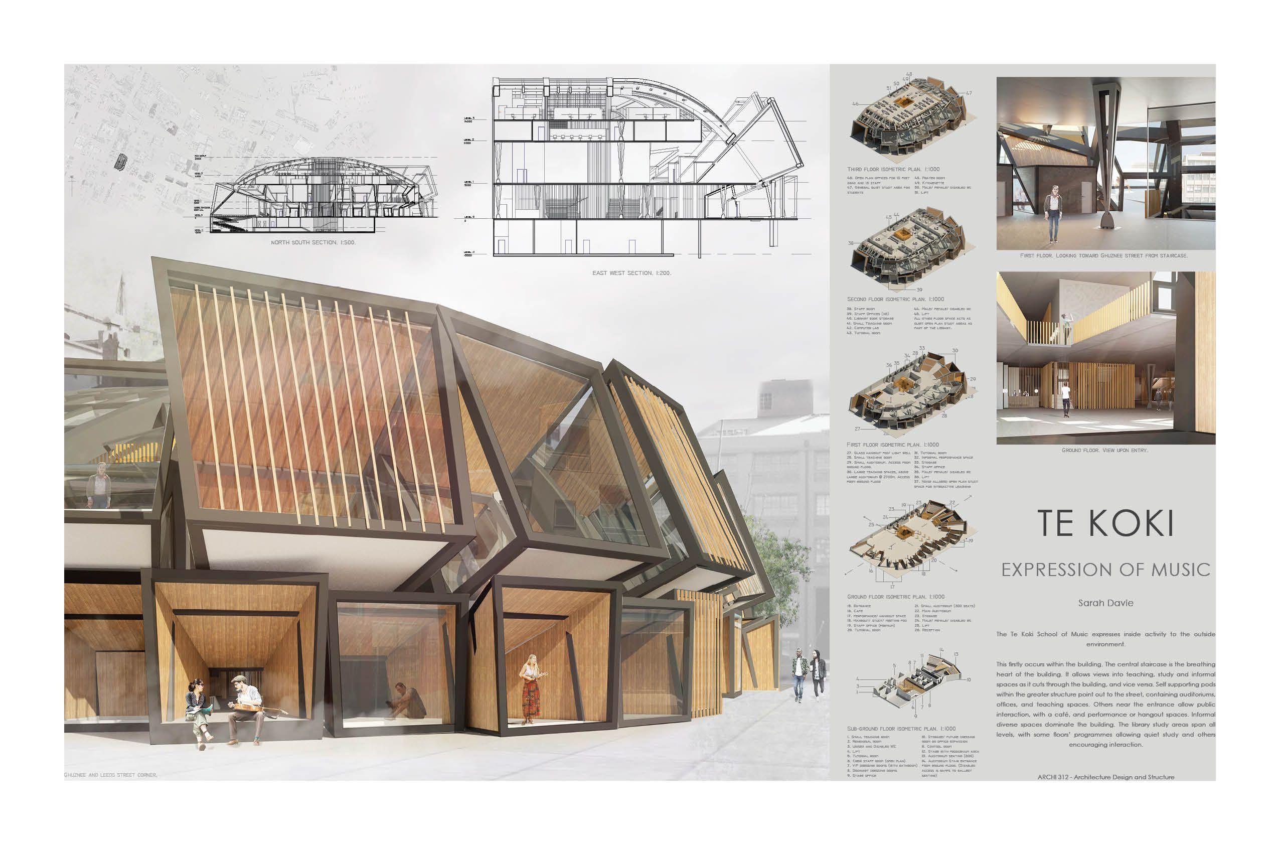 Te Koki Music School Arci312. Architecture presentation. Revit ...