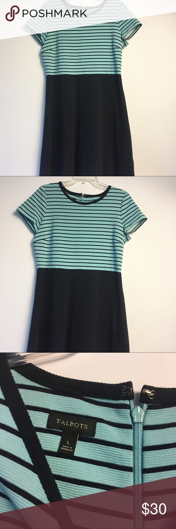 """Talbots Fit n Flare Navy Blue Striped Dress Large Talbots Fit n Flare Dress Short sleeves, scoop neck and zipper up back Navy blue bottom and teal and navy stripes on top Size Large Pit to pit-19"""" Length-39"""" Waist-34"""" Gently worn Hinventory Talbots Dresses Midi #navyblueshortdress"""