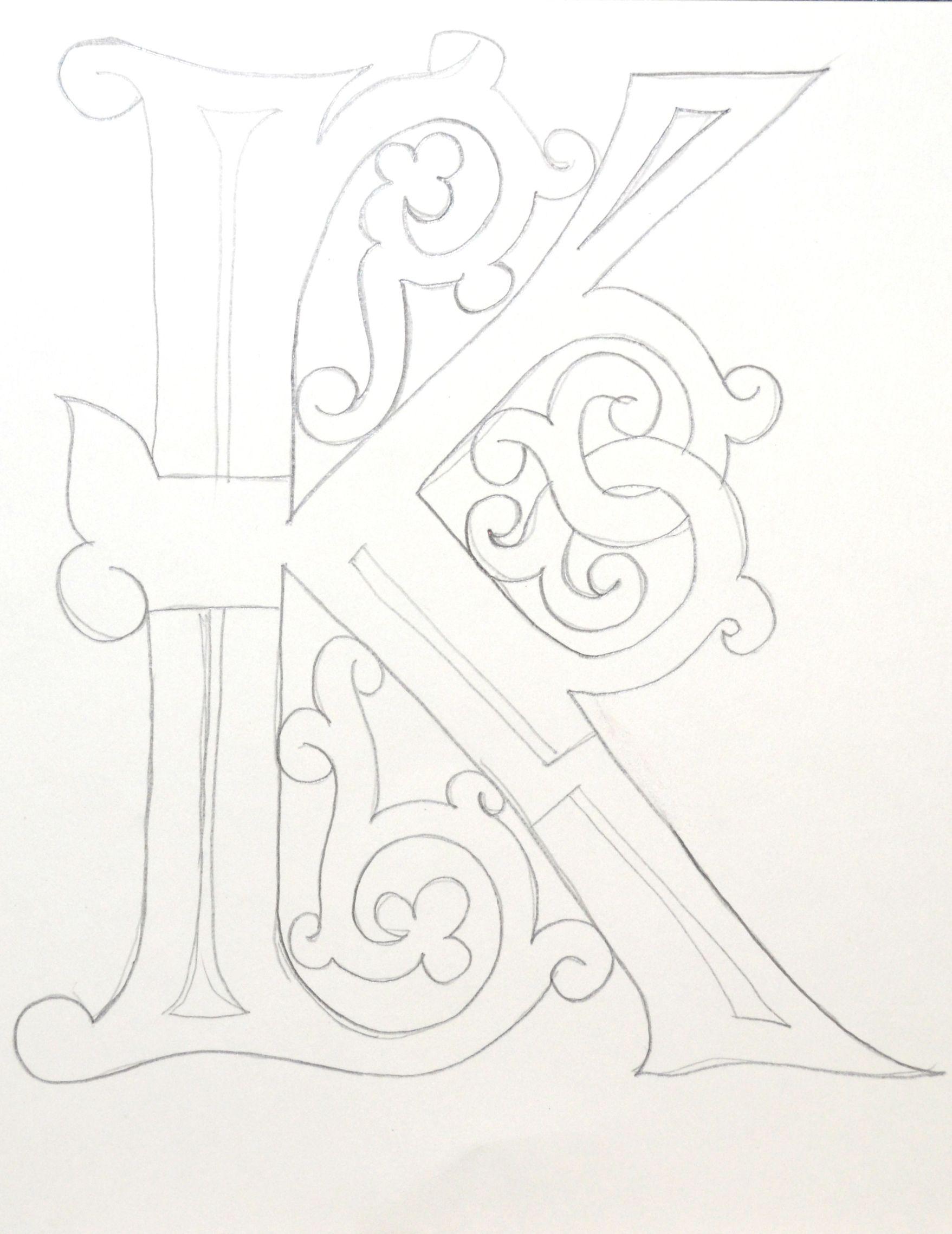 буквица к буквица в славянском стиле Creative Lettering