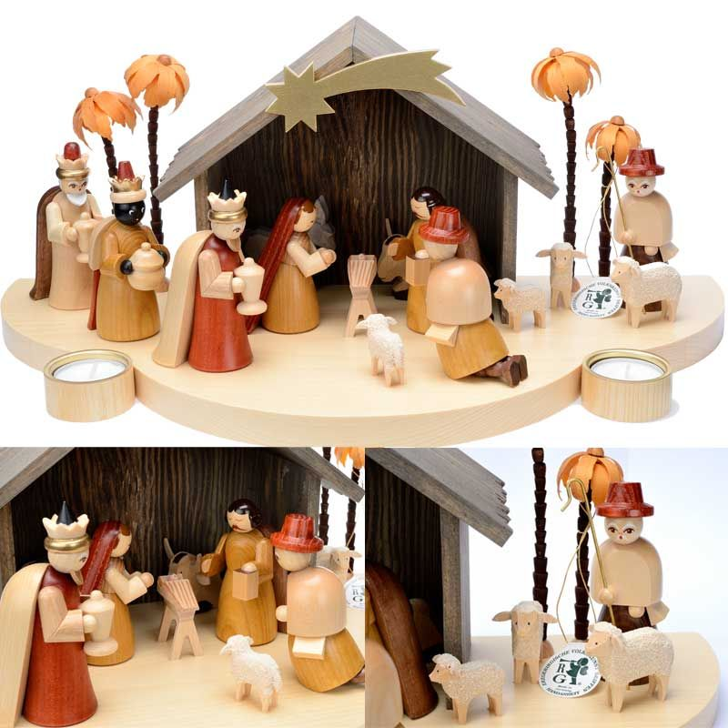 grande creche de noel en bois avec personnages. Black Bedroom Furniture Sets. Home Design Ideas