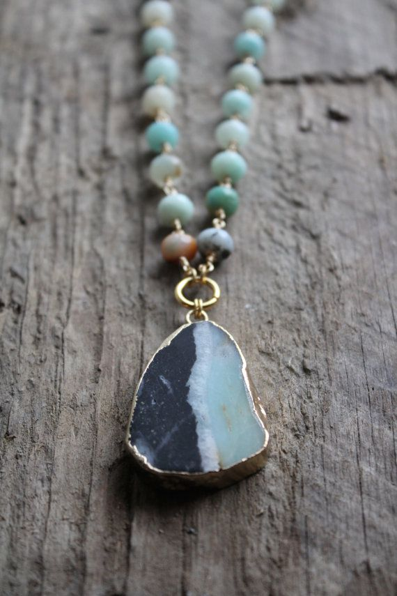 Gold Edged Amazonite Stone Necklace with by JESDesignStudio