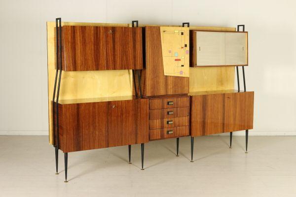 Mobile soggiorno, legno impiallacciato palissandro e pioppo, ante ...