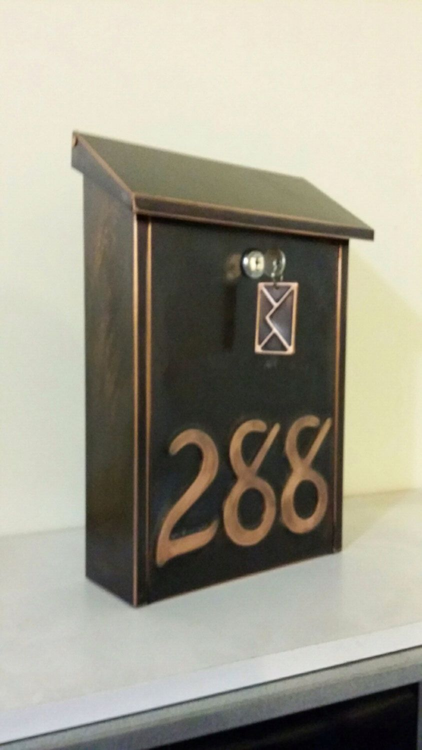 Patina Copper Mailbox with house number (3 numbers ) by