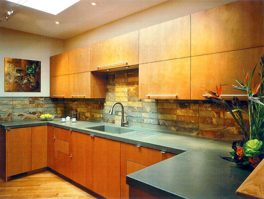 Slate Counter slate backsplash with concrete counter kitchens | define design