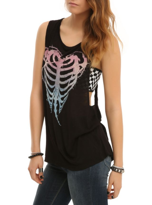 Grey tank top with glitter ombre heart rib cage design and cutout back with twist detailing.