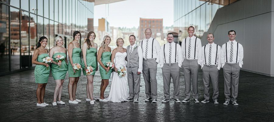 Matt Shumate Photography Wedding Party Downtown Portrait Creative Green Yellow Gray Mint