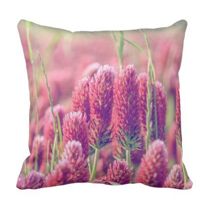 Purple Red Clover Field Of Flowers Outdoor Pillow Purple Floral Style Gifts Flower Flowers Diy Custom Flower Throw Pillows Flower Field Photography Gifts Diy