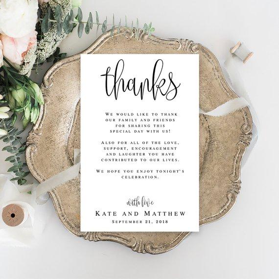 thanks wedding card template wedding thank you template