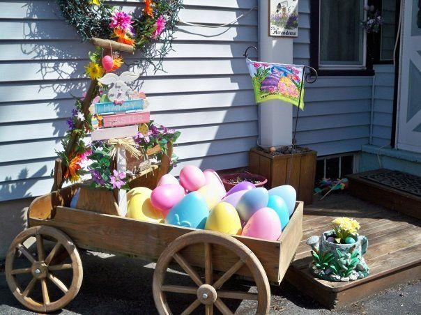 Our Easter Wagon Easter Outdoor Easter Backdrops Easter Decorations Outdoor
