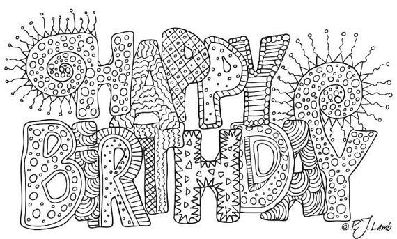 Source gt zentangle birthday card to print happy birthday black