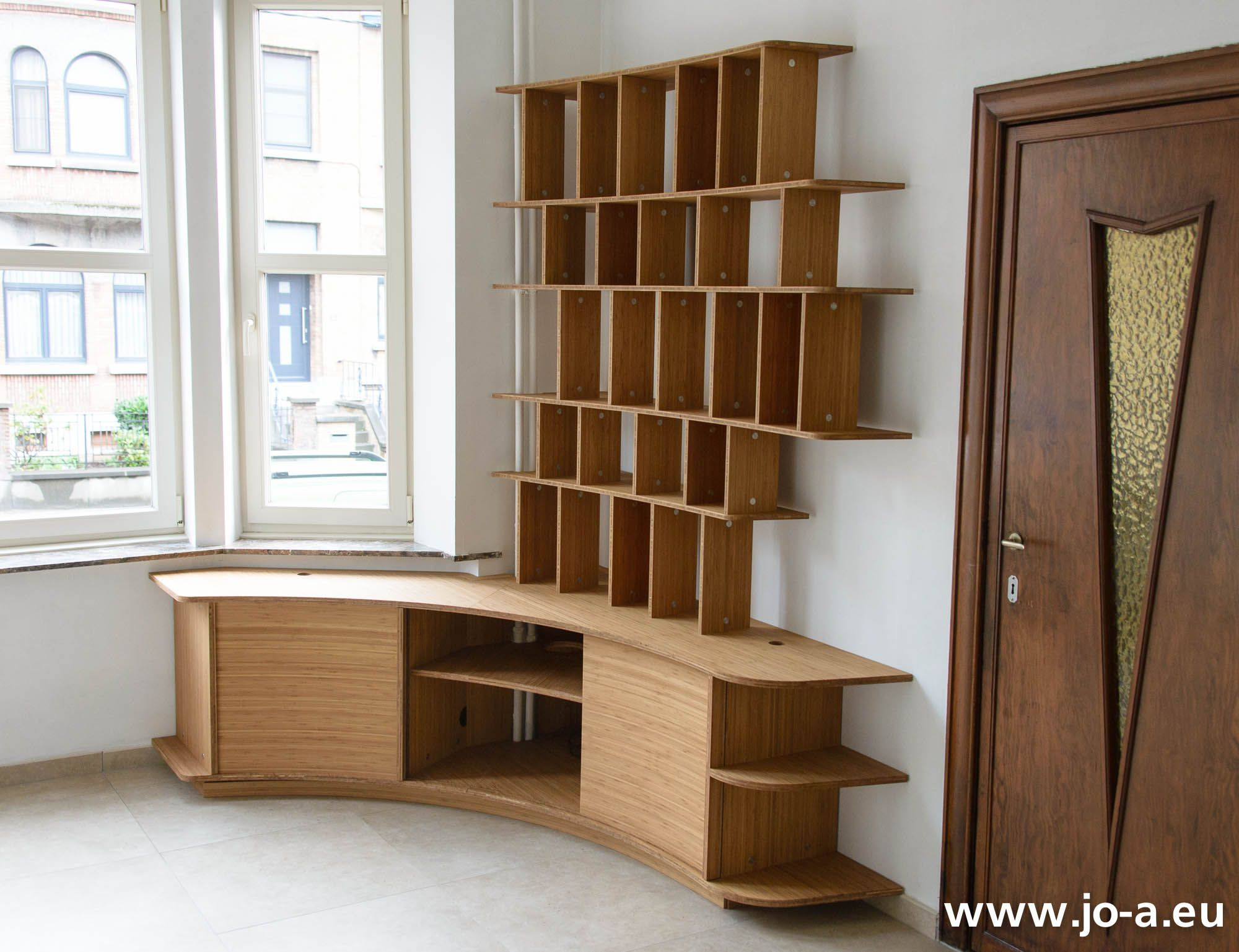 custom tv cabinet and bookcase design by jo a meuble tv et bibliothque - Meuble Tv Made In Design