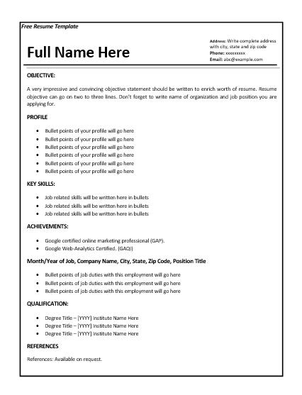 6 Job Resume Templates Job Resume Template Job Resume Resume