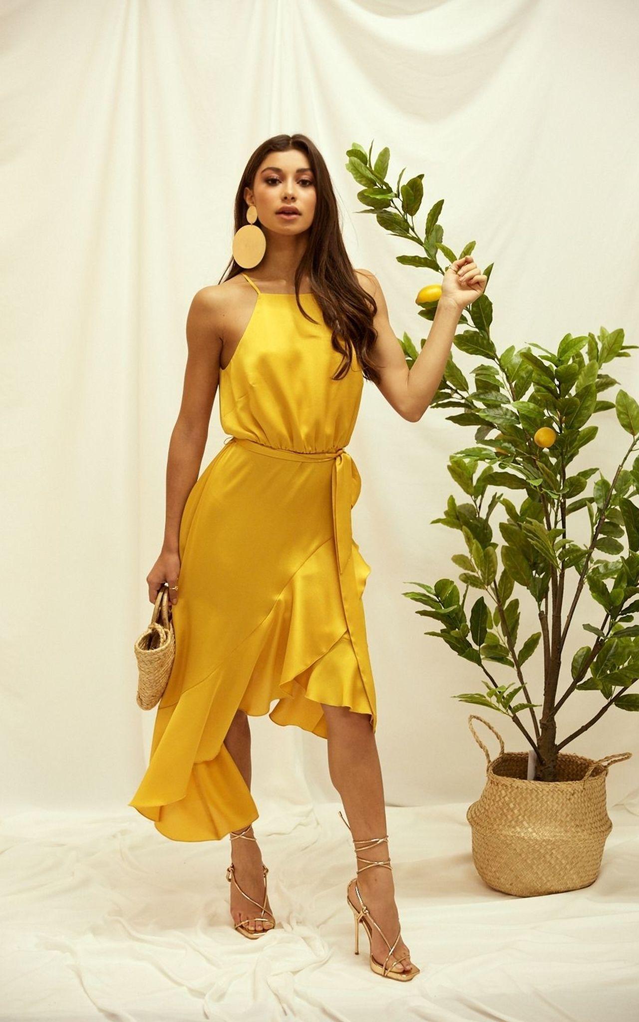 kleid hochzeitsgast gelb silk fred silky shiny dress in 2020