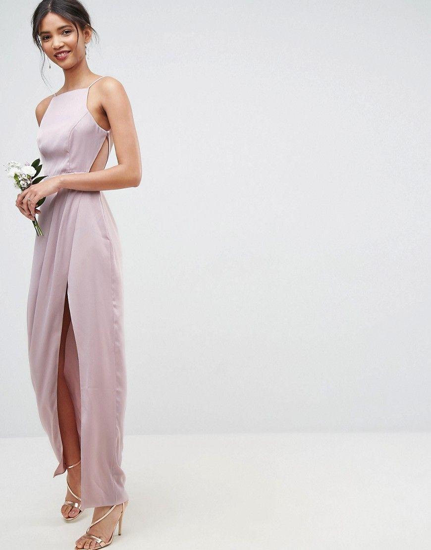 ASOS WEDDING - Maxikleid mit drapierter Vorderpartie und Riemchen ...