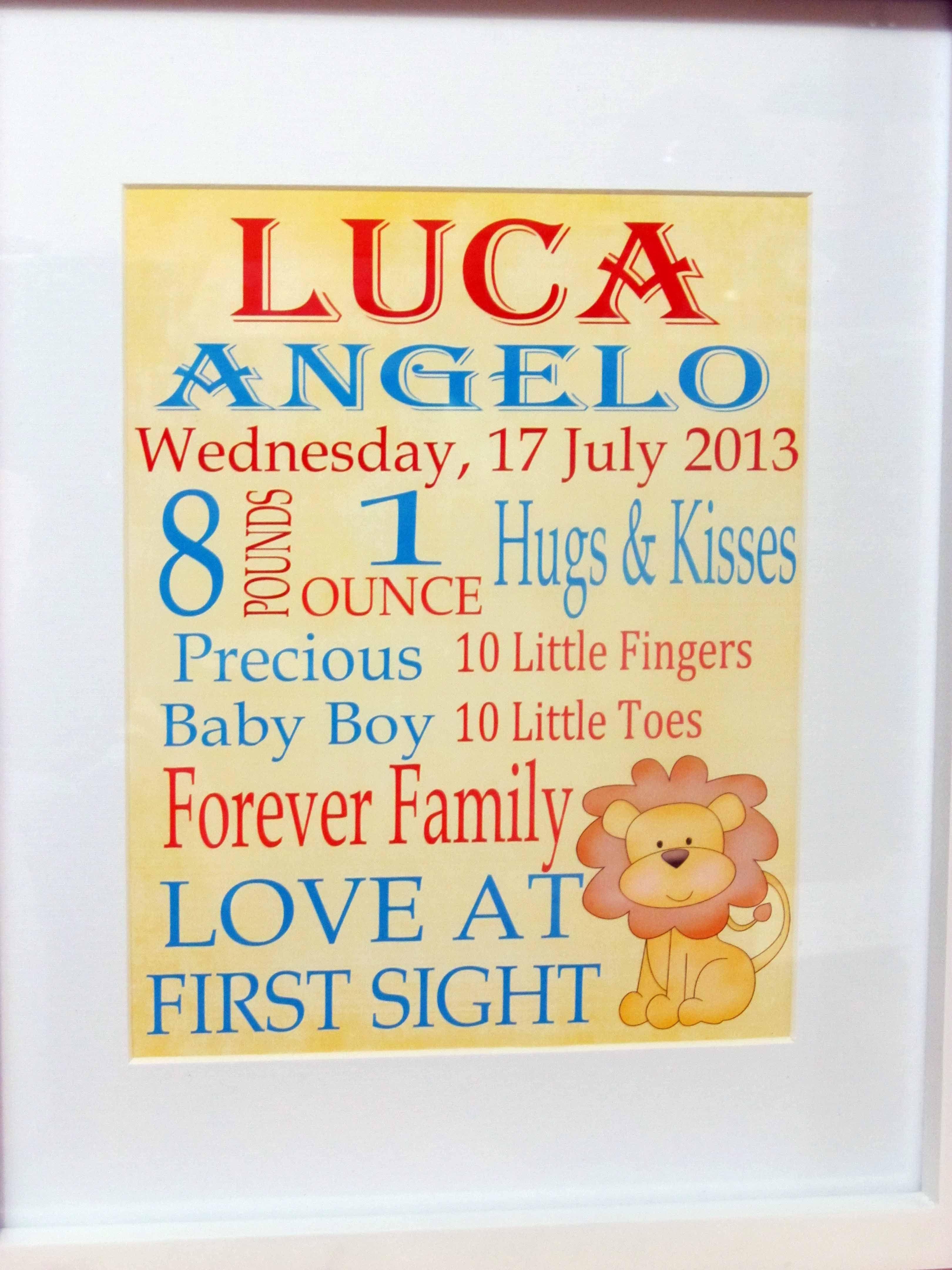 Personalised Baby Birth Print | Nancy Taylor Designs Nursery Wall ...