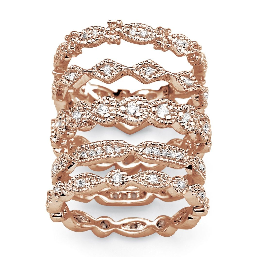 1.55 TCW Cubic Zirconia 5 Piece Eternity Band Set in Rose ...
