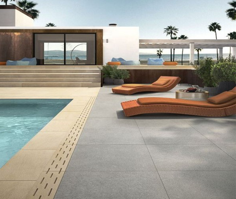 Porcelain Stoneware Slabs Pool Deck Pool Modern Pools Concrete Pool