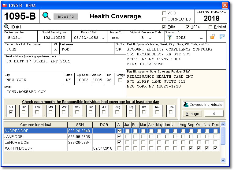 Health Coverage Data Is Entered Onto Windows That Resemble The