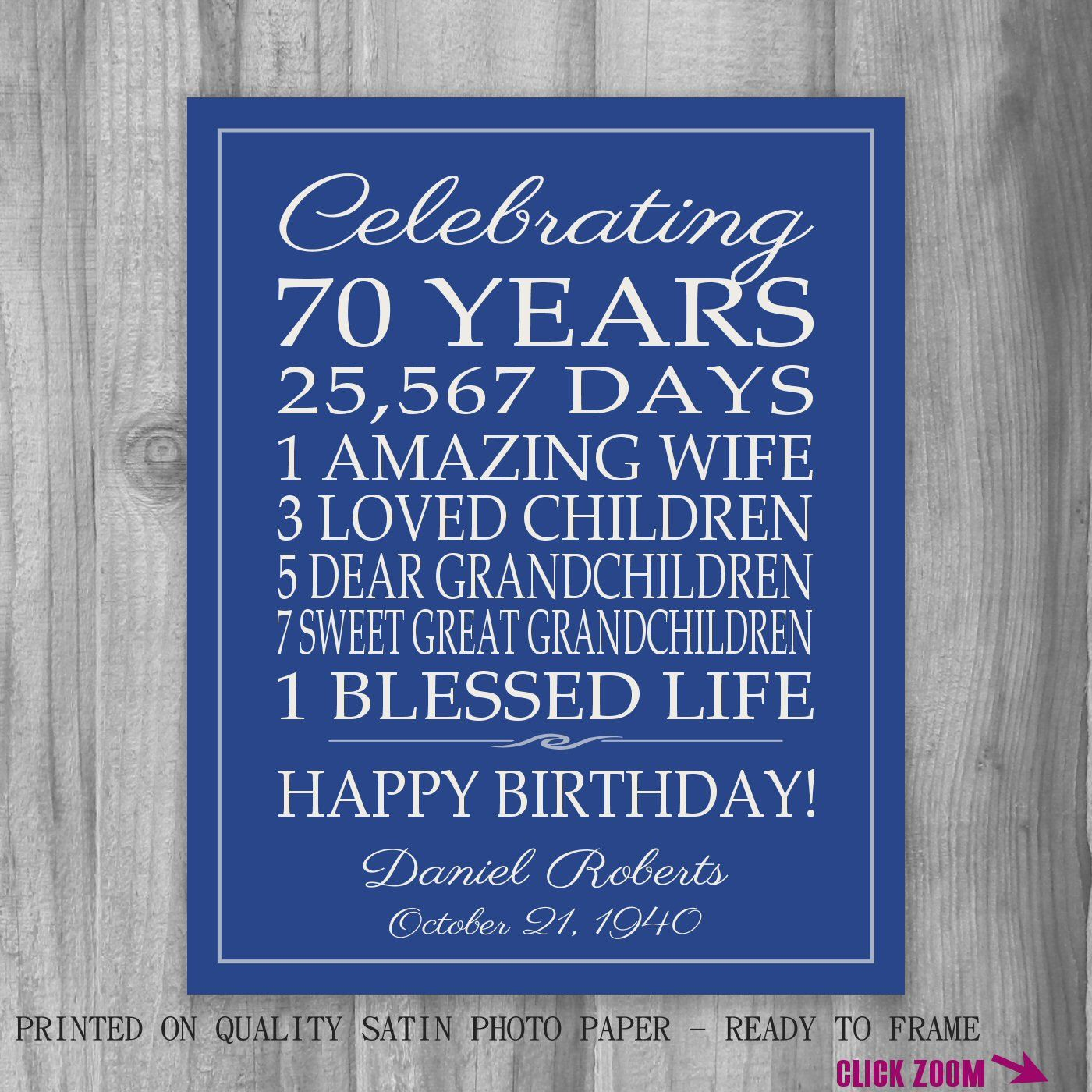 70th birthday gift birthday sign canvas personalized gift