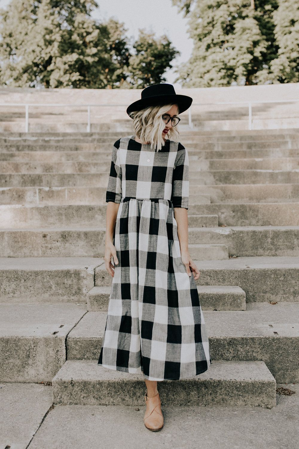Black White Buffalo Plaid Midi Rounded Neckline 1 2 Sleeves Gathered No Stretch Waistline Zip Maxi Dresses Casual Maxi Dress With Sleeves Buffalo Plaid Dress