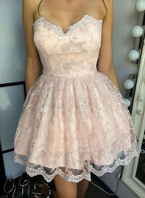 Cute lace short prom dress, homecoming dress   Lace dresses ...