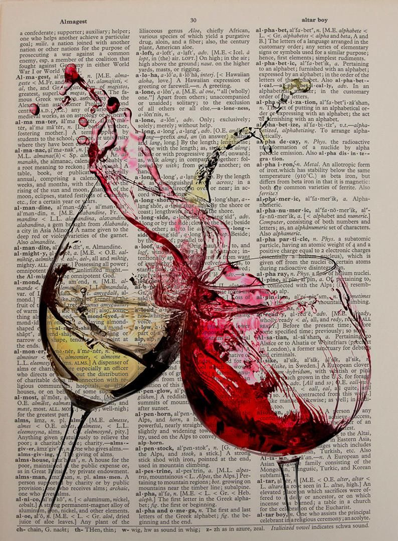 Wine Dictionary Art Print Glass Red Wine White Decor Alcohol Etsy In 2020 Dictionary Art Print Dictionary Art Bar Art