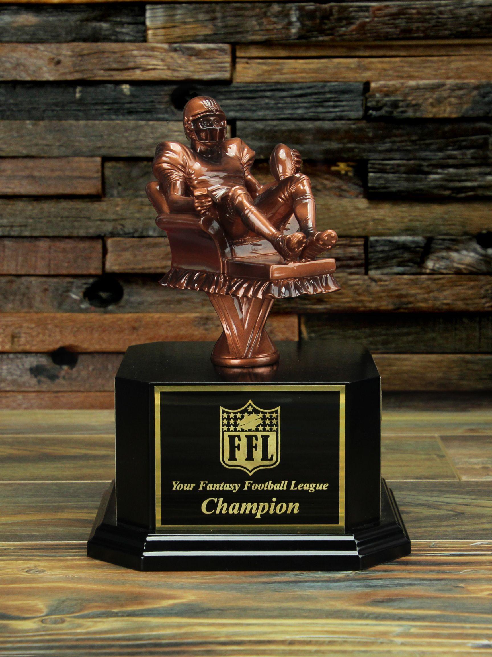 Copper armchair quarterback fantasy football trophy