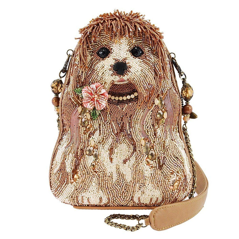Mary Frances Rezzy Beaded Puppy Dog Shoulder Handbag Designed