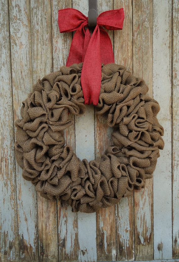 Simple Brown Burlap Wreath with a Red Burlap by WhimsyChicDesigns