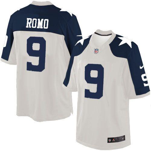 nike limited tony romo white mens jersey dallas cowboys 9 nfl throwback alternate