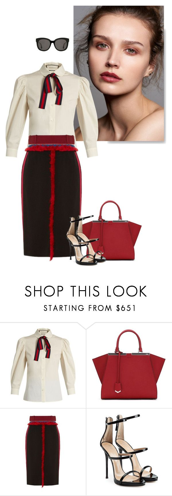 """""""Untitled #758"""" by mrsmaggiemay ❤ liked on Polyvore featuring Gucci, Fendi, Altuzarra, Giuseppe Zanotti and Gentle Monster"""