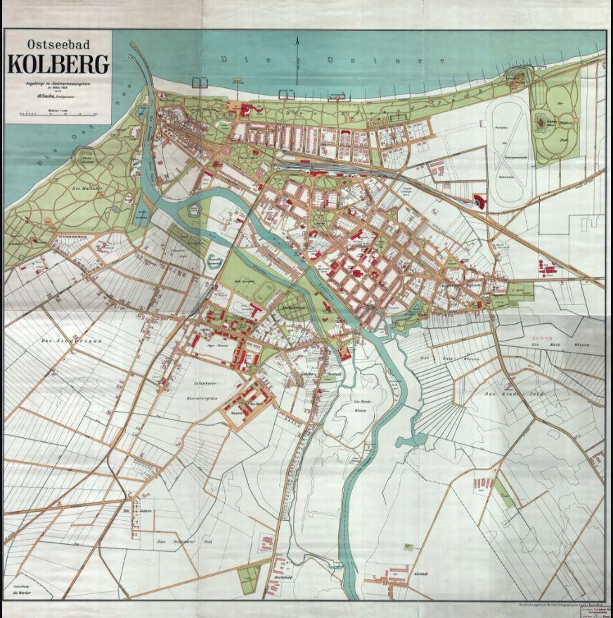 Stadtplan Kolberg 1929 Landkarte Alte Landkarten Planer