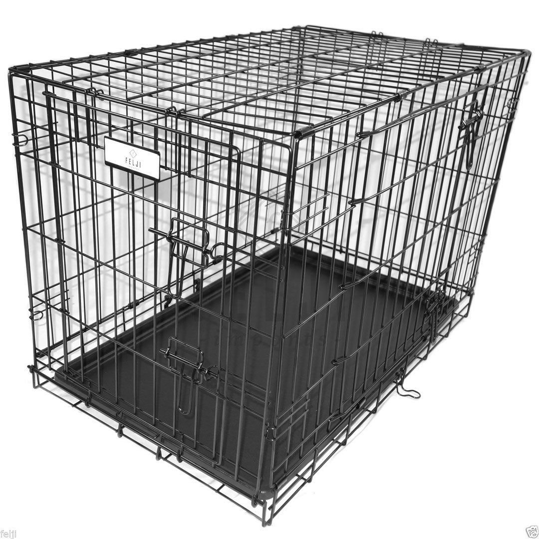 2 Doors Black 30 Pet Folding Suitcase Dog Cat Crate Cage Kennel