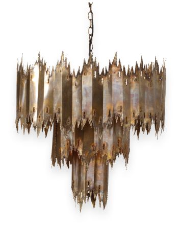 Neutral Territory: Mr. Brown's Moreland chandelier makes a dramatic statement with a variegated metal surface and sculptural form. October 2014 #hpmkt
