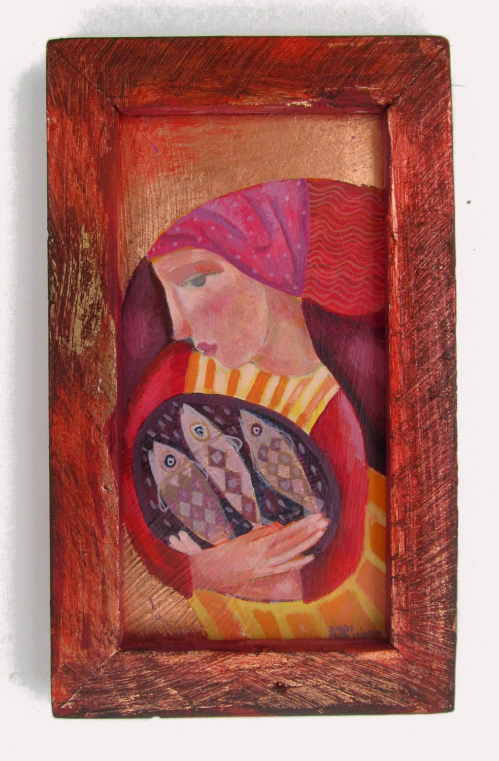 The Fishwife, original painting in a hand made wooden frame by ...