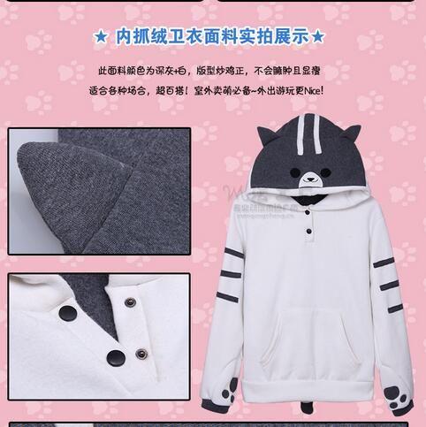 Hoodies mulheres outono inverno Zip orelha de gato moletom com capuz  moletom casaco mulheres fatos de 84e2653b197