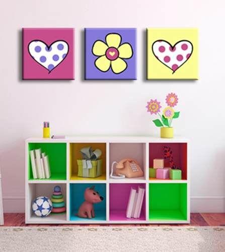 Cuadro infantil tr ptico 450 00 decoracion for Decoracion habitacion bebe pintura