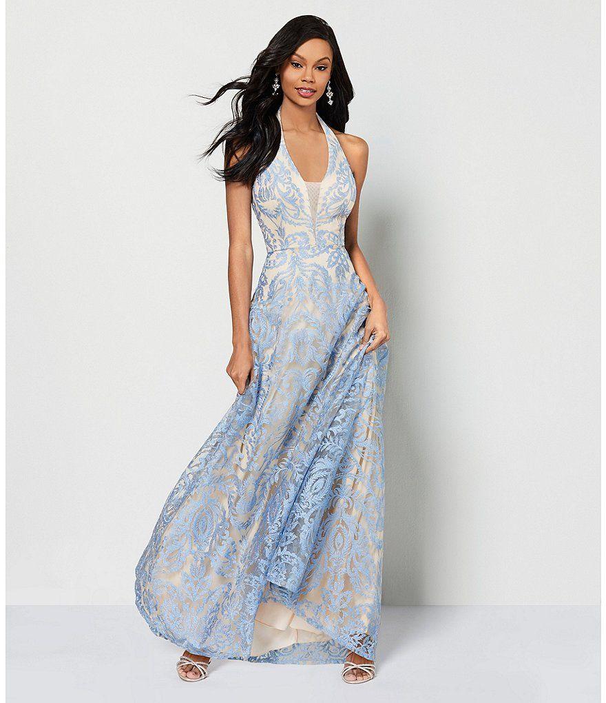 Xtraordinary halterneck embroidered long dress halter neck