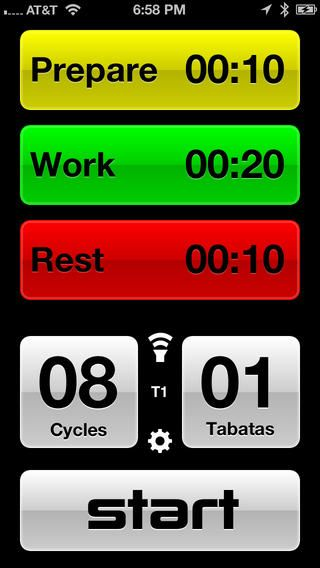 tabata timer app, great to pair with your polar watch for metabolic