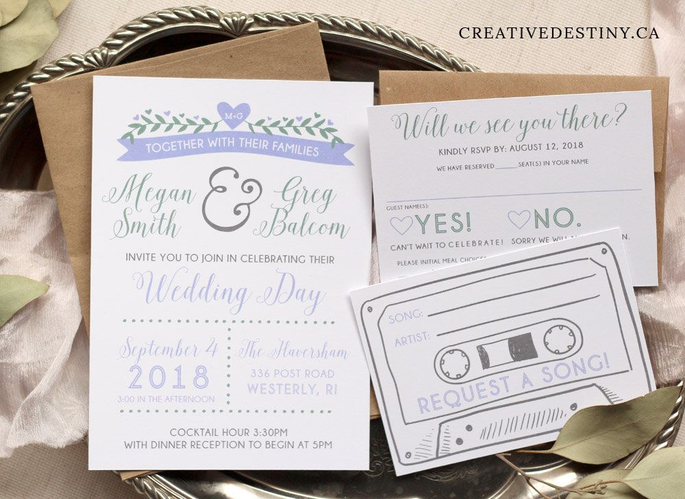 25 Retro Cassette Tape Song Request Printed Wedding