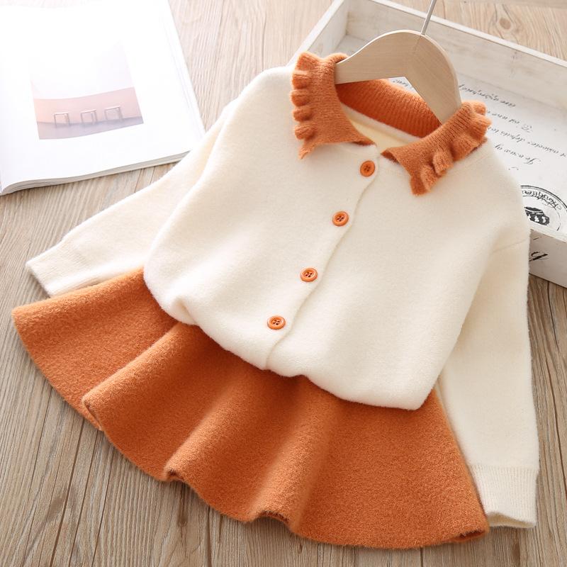 Autumn Kids Girl Princess Dress Plaid Coat Set Korean Child Outfits 3-8T