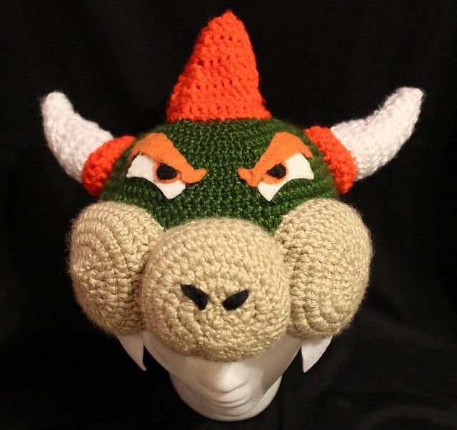 Bowser Crocheted Hat Pattern Super Mario Brothers Bowser Crochet