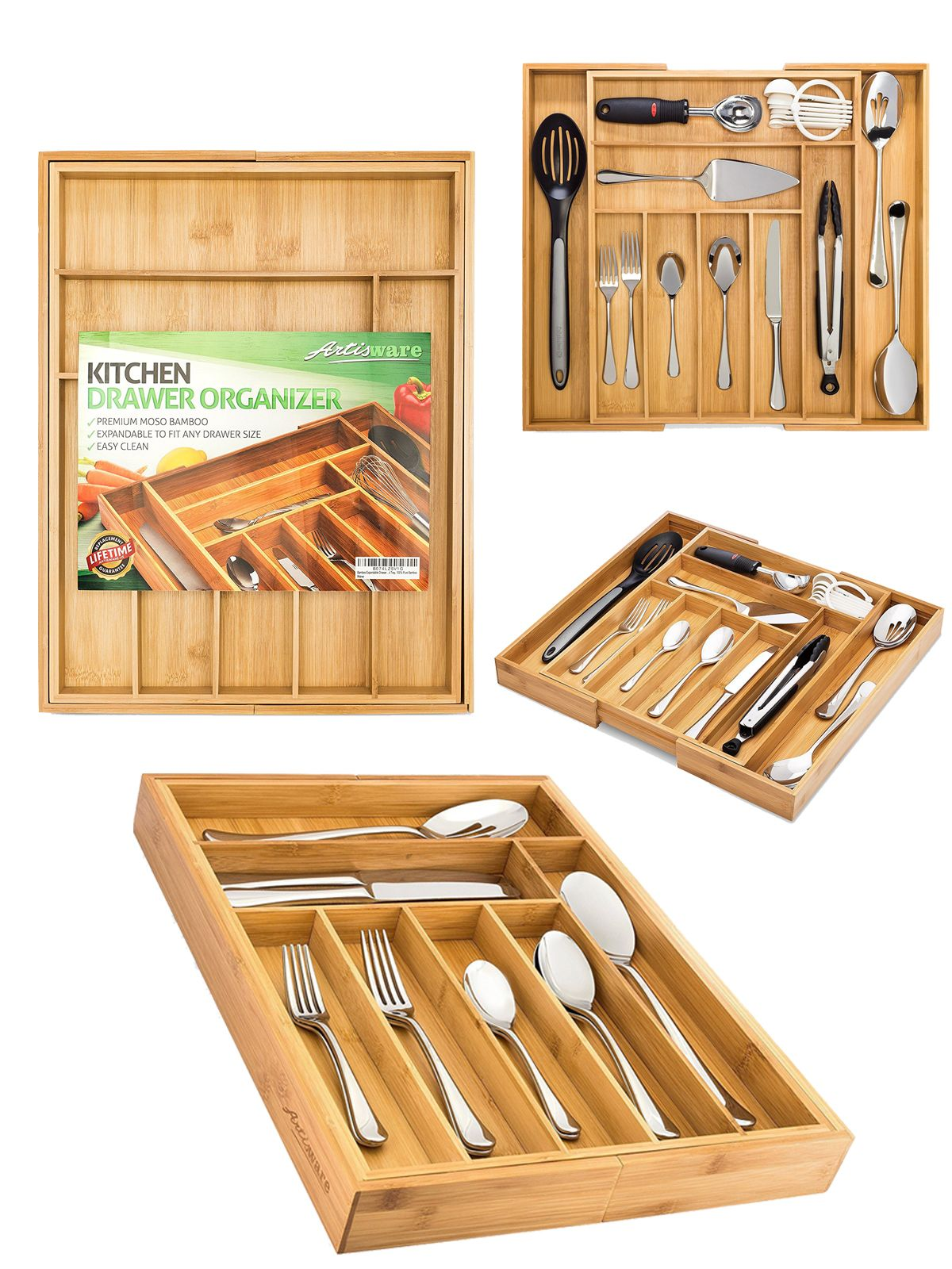 Bamboo Expandable Drawer Organizer Premium Cutlery And Utensil Tray