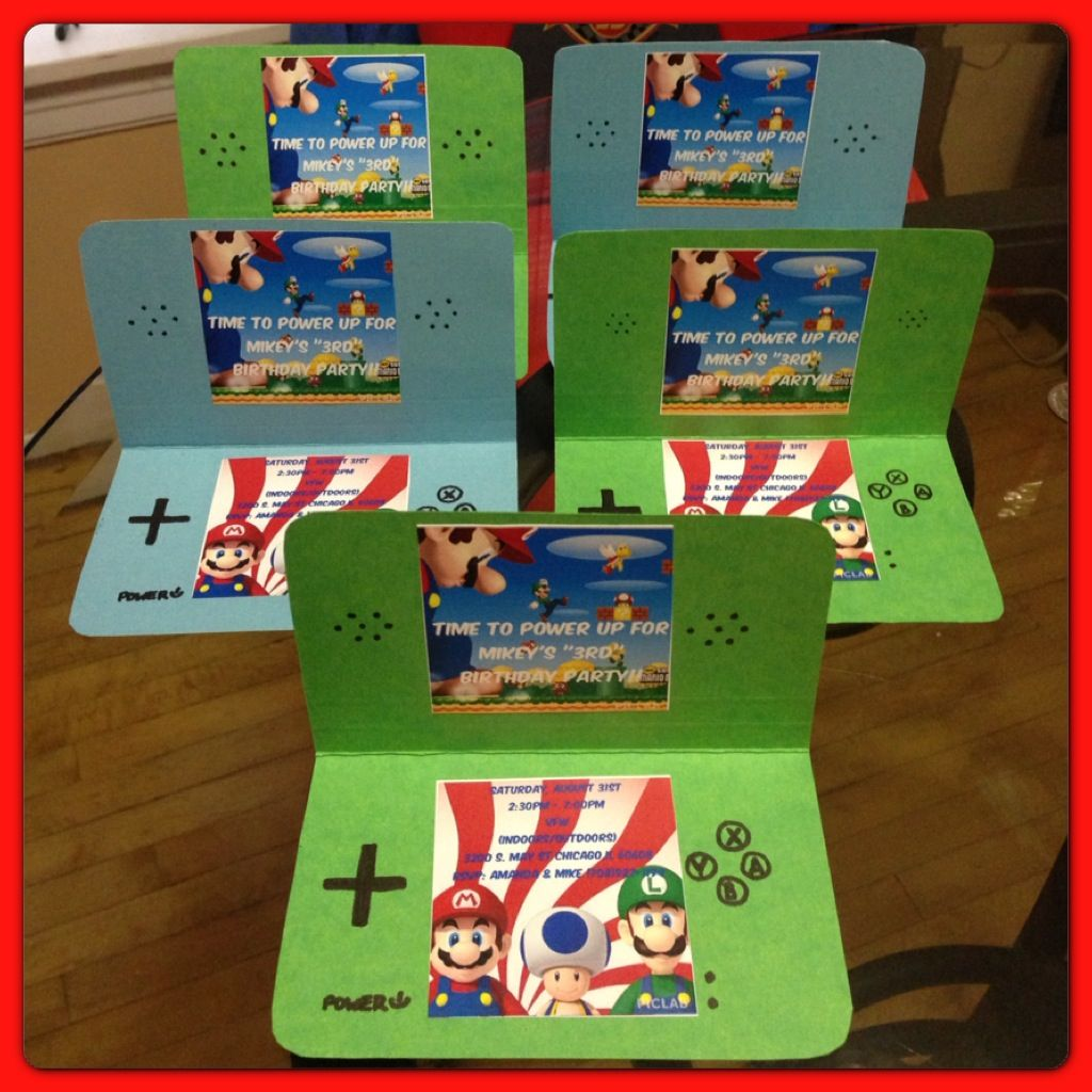Nintendo DS invitations I made for my sons Super Mario Birthday – Mario Party Invites