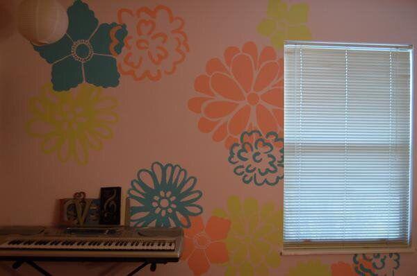 Flower wall - matches throw pillows!
